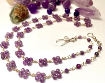 Silver Purple Gemstone necklace, delicate Beaded Amethyst gemstone chocker, With Designer Clasp, Argentium 935 silver Amethyst woman choker