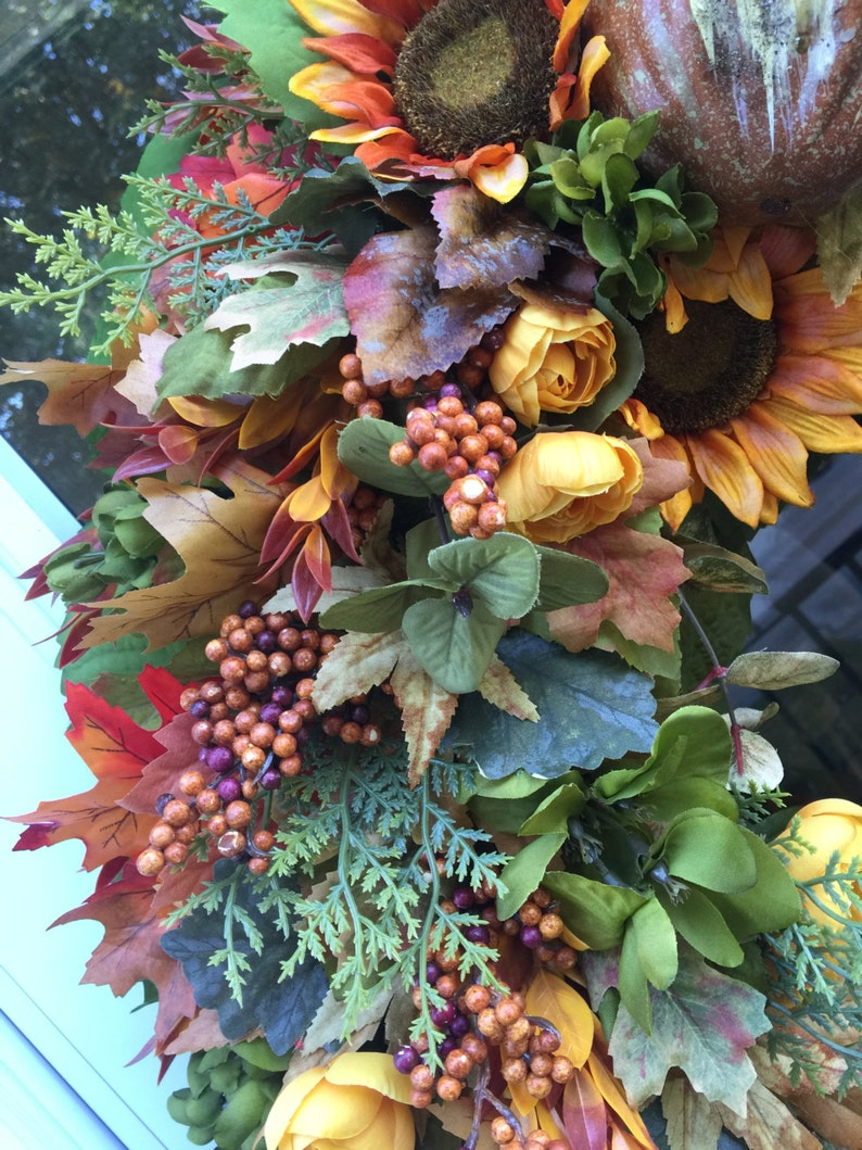 Sale! Pumpkin /& Gourd with Fall Leaves Wreath Golden Sunflowers