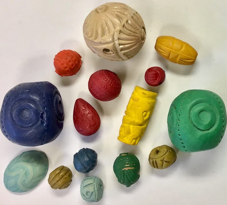 Destash Wood and Clay Beads Assortment