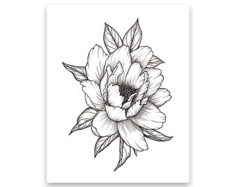 Flower drawing etsy peony flower art print of pen illustration flower drawing floral tattoo botanical line drawing feminine art peony tattoo wall decor mightylinksfo