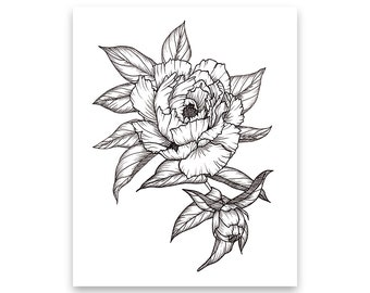 Flower drawing etsy peony floral arrangement art print of pen illustration flower drawing floral tattoo botanical line drawing feminine art wall decor mightylinksfo