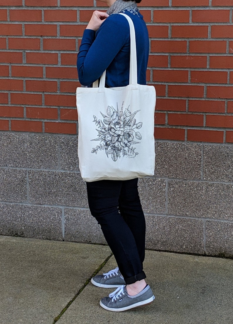 b7095f6d6 Peony Floral Printed Tote Bag Canvas Tote Bag Reusable | Etsy