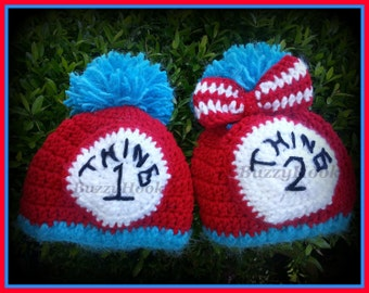 Toddlers Twins Babies Thing 1 and Thing 2 Crochet Hat with pom-pom