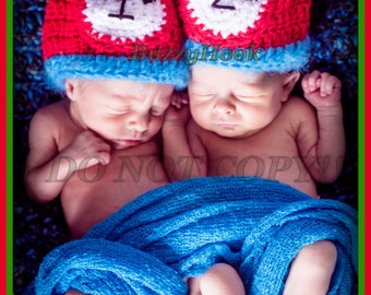 Beautiful Twins Babies Thing 1 and Thing 2 Crochet Hat with pom-pom