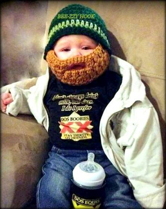 Ganchillo bebé 6 a 12 meses barba sombrero sombrero del | Etsy