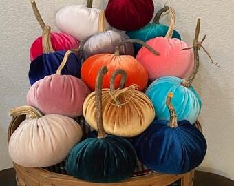 Velvet Pumpkins, REAL Pumpkin Stems, FREE SHIPPING, Fabric Pumpkins, Indoor Fall Home Decor, Thanksgiving Decor, Fall Centerpiece, 3 Size