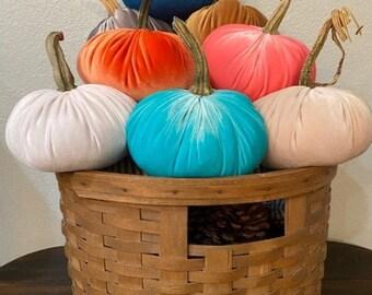 Velvet Pumpkins, REAL Pumpkin Stems, FREE SHIPPING, Fabric Pumpkins, Indoor Fall Home Decor, Thanksgiving Decor, Centerpiece, 3 Sizes