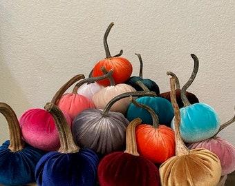 Velvet Pumpkins, REAL Pumpkin Stems, FREE SHIPPING, Fabric Pumpkins, Indoor Fall Home Decor, Thanksgiving Decor Centerpiece, 3 Sizes