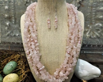 Pink Necklace   Pink Earrings   Pink Jewelry   Matching Earrings   Sterling Silver   Luxury Jewelry   Jewelry   Pink Jewelry Set  