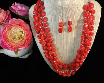 Red Jewelry   Luxury Jewelry   Beaded  Jewelry    BOHO Jewelry   Handmade Jewelry   Red Earrings   Coral Jewelry   Sterling Silver