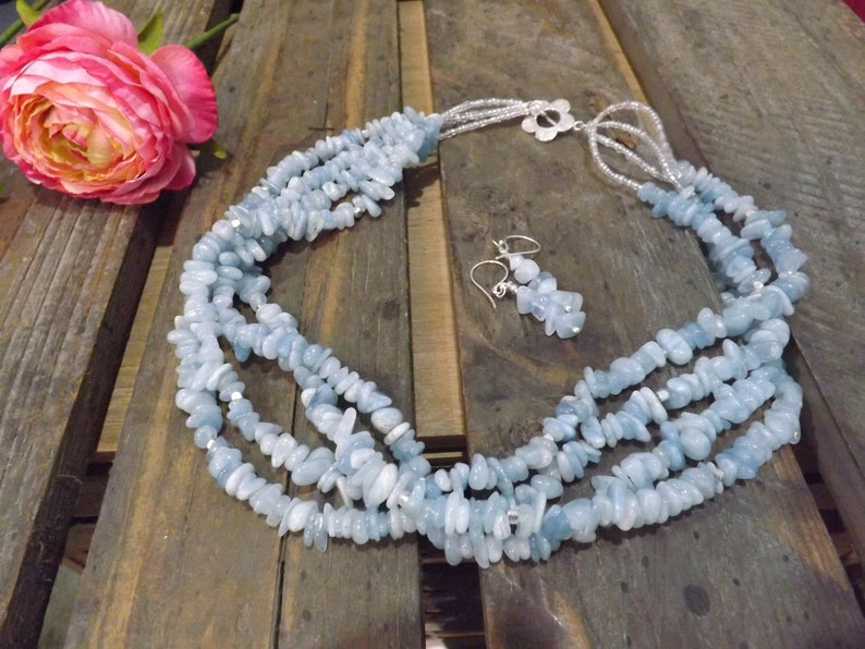 March Birthstone Blue Jewelry Set Aquamarine Necklace Gift for Her Matching Earrings Blue Necklace BOHO Necklace Toggle