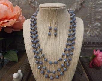 Blue Rosary Chain Necklace   Valentine Gift   Blue Necklace   Boho Necklace   Blue Matching Earrings   Blue Jewelry Set  Blue Beaded Chain