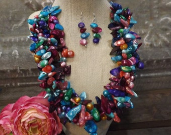 Pearl Jewelry   Colorful Necklace   Colorful Jewelry   Rainbow jewelry   Luxury Jewelry   Handmade Jewelry   Unique Jewelry   Pearl Earrings