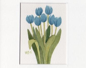 Blue Tulip Group 5x7 Matted Original Watercolor by Wandas's Watercolors