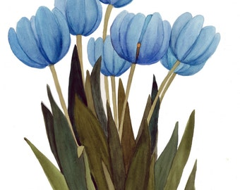 Set of Four Tulip Watercolor Reproduction Blank Note Cards