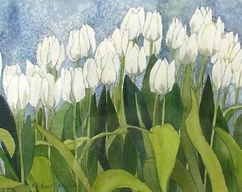 "White Tulip Field Watercolor by Wanda""s Watercolors"