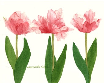 Pink Tulip Note Cards Set of Four Watercolor Painting Reproductions