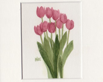Red Tulip Group 5x7 Matted Original Watercolor by Wandas's Watercolors 2