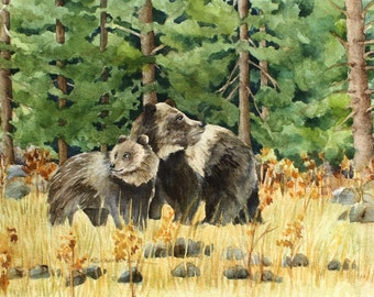 Set of four  5 x 7 Wildlife Watercolor Reproduction Note Cards