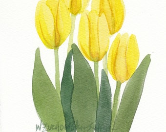 Yellow Tulip Bunch 4 Original Watercolor