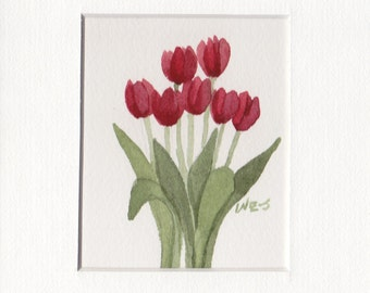 Red Tulip Group 5x7 Matted Original Watercolor by Wandas's Watercolors