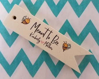 Meant To Bee Wedding Favor Tags - Index Off White Personalized Tags PT018