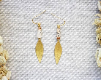 OXTA Picture Jasper and Brass Earrings