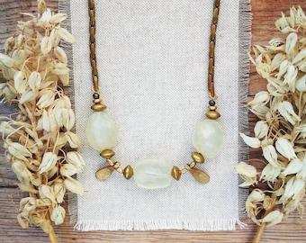 UTE Citrine Brass Necklace