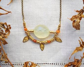 ULI Citrine and Carnelian Brass Necklace