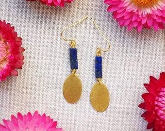 OXTA Lapis Lazuli Brass Earrings