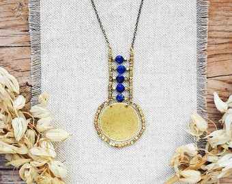 NILO Brass and Lapis Necklace