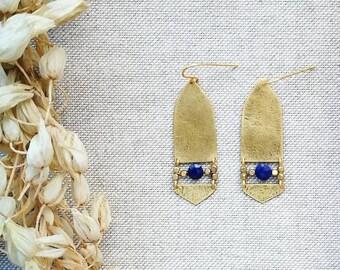 NILO Lapis Lazuli Brass Earrings