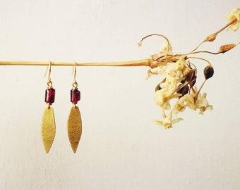 OXTA Garnet and Brass Earrings