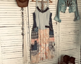 36e4458d4d78 Gypsy Cowgirl Dress L, Prairie Chic, Boho Long Dress, Baby Blues and Denim  with Floral Prints and Lace, Upcycled Clothing for Women
