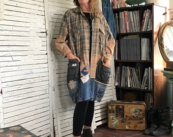Plus Size /XXL Coat, Oversized Cut, Boho Streetwear, Bleached Plaid Shirt, Recycled Jeans, Upcycled Clothing for women