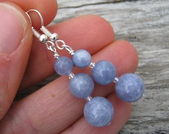 Angelite Earrings, Gemstone Dangle Earrings, Blue Gemstone Earrings, Nature Jewelry, Sterling Silver Option, Anhidrite Celestite