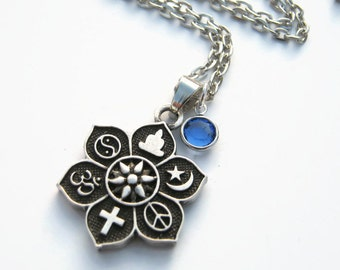 Coexist jewelry etsy coexist necklace personalized birthstone jewelry lotus flower necklace christian jewelry buddhist necklace choose length muslim tao aloadofball Gallery