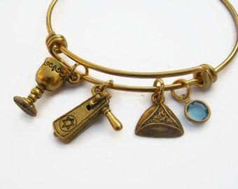 Grogger Chalice Hamantash Jewelry Personalized Purim Bracelet Stainless Steel Bracelet Jewish Holiday Expandable Bangle Bracelet