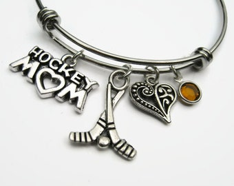 Hockey Charm Bangle Hockey  Ice Charm Jewelry Hockey Charm Bracelet Personalized Hockey Stick Accessory Hockey Mom Gift Hockey Team