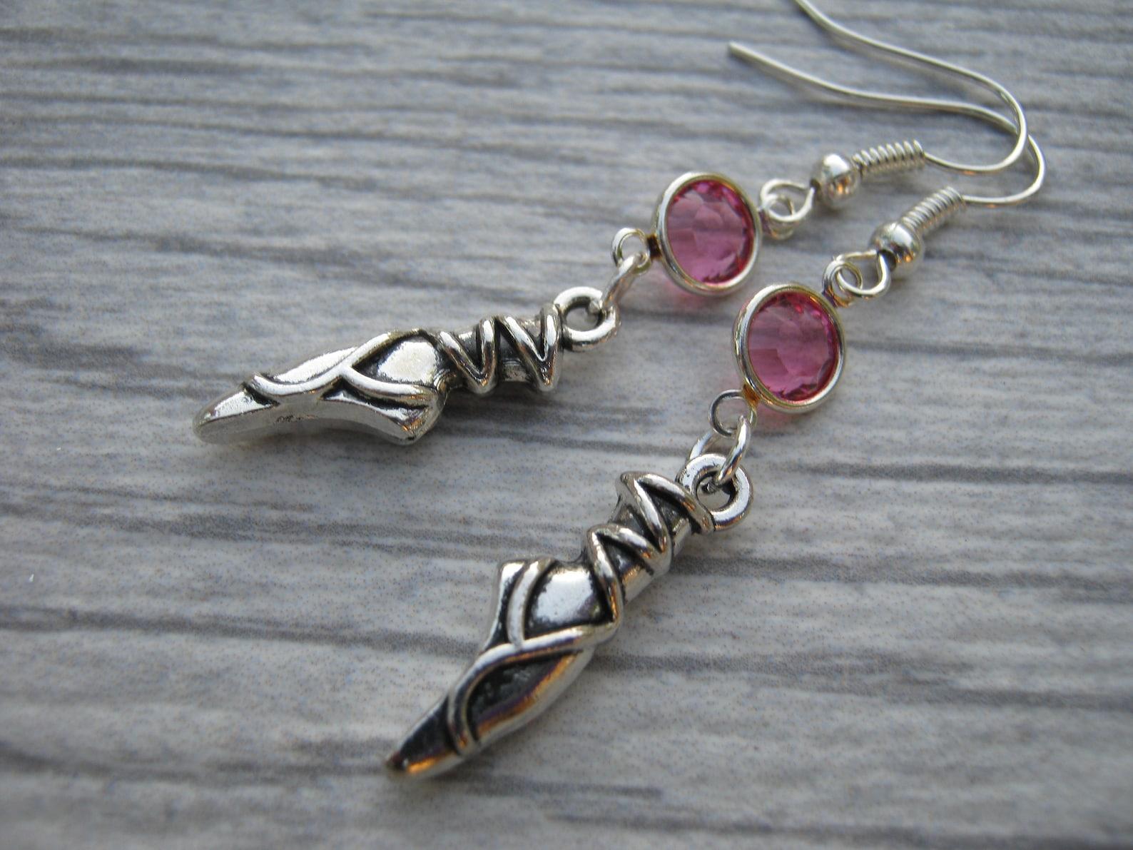 ballet shoes birthstone earrings, personalized ballet earrings, ballerina earrings, athletic jewelry, dance jewelry, ballet mom
