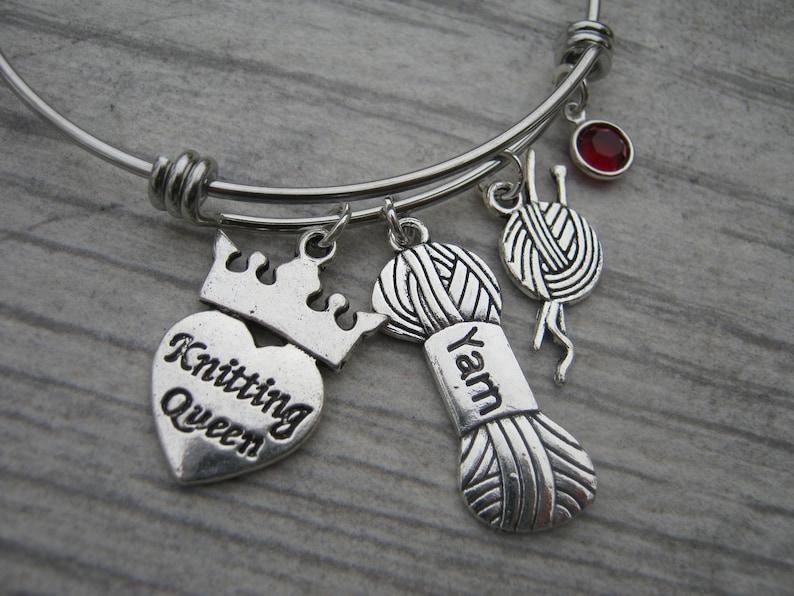 Yarn Charm Stainless Steel Expandable Bangle Bracelet Personalized Knitting Queen Bracelet Knitter Jewelry Knitting Needles