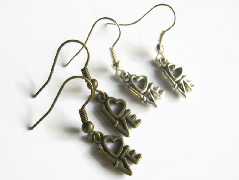 Romantic Earrings Tiny LOVE Earrings READY To Ship Dainty Love Heart Earrings Silver or Bronze