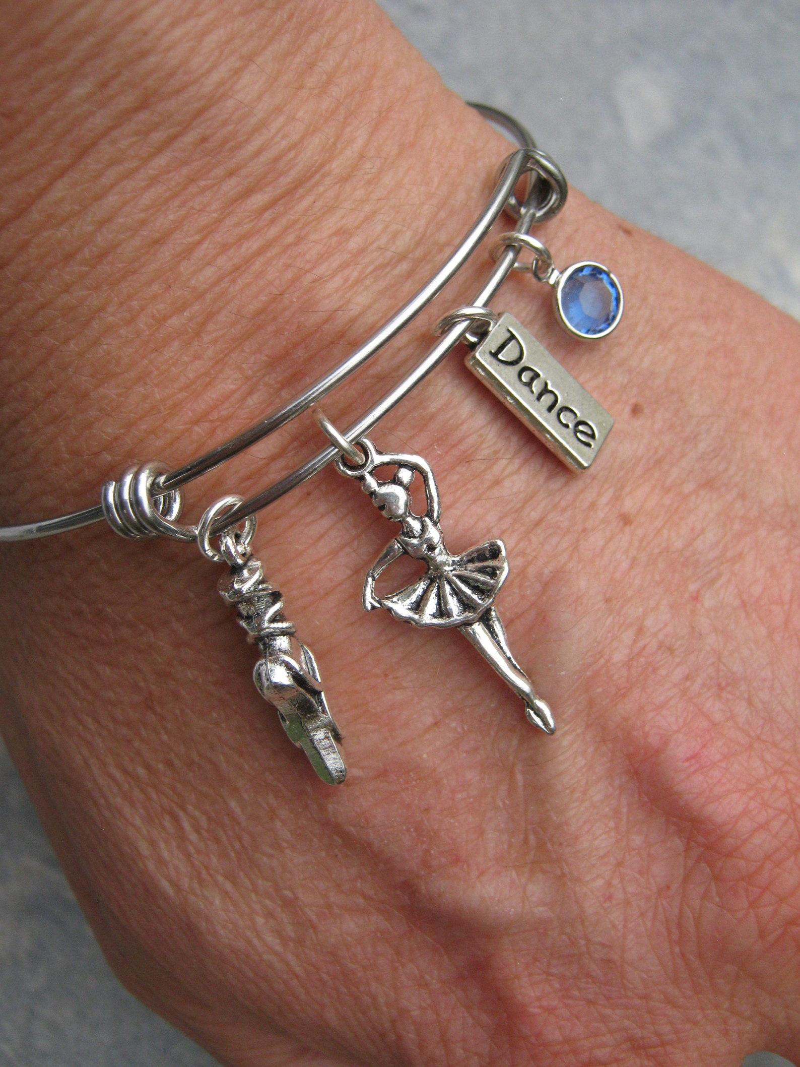 personalized ballerina bracelet, expandable bangle bracelet, stainless steel bracelet, dance jewelry, ballet shoe slipper, athle