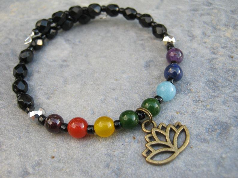 Rainbow Gemstone Stacking Bracelet Yoga Memory Bracelet Buddhist Hindu 7 Chakra Lotus Flower Bracelet READY To SHIP Boho Bracelet