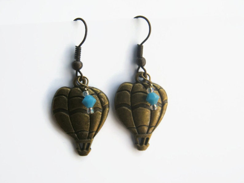 Personalized Birthstone Earrings READY To SHIP BRONZE Balloon Earrings Whimsical Jewelry Steampunk Earrings Hot Air Balloon Earrings