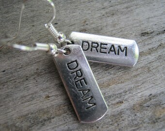 CHOOSE Your Inspiration Earrings, Antique SILVER, Love Earrings, Dog Tag Earrings, Hope, Dainty Earrings, Dream, Affirmation, READY To Ship