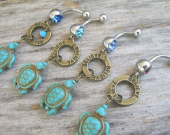 Pick One Believe Sea Turtle Belly Ring, BRONZE Turquoise Howlite Turtle Belly Button Ring, Nature Navel Ring, Turtle Body Jewelry, Tortoise