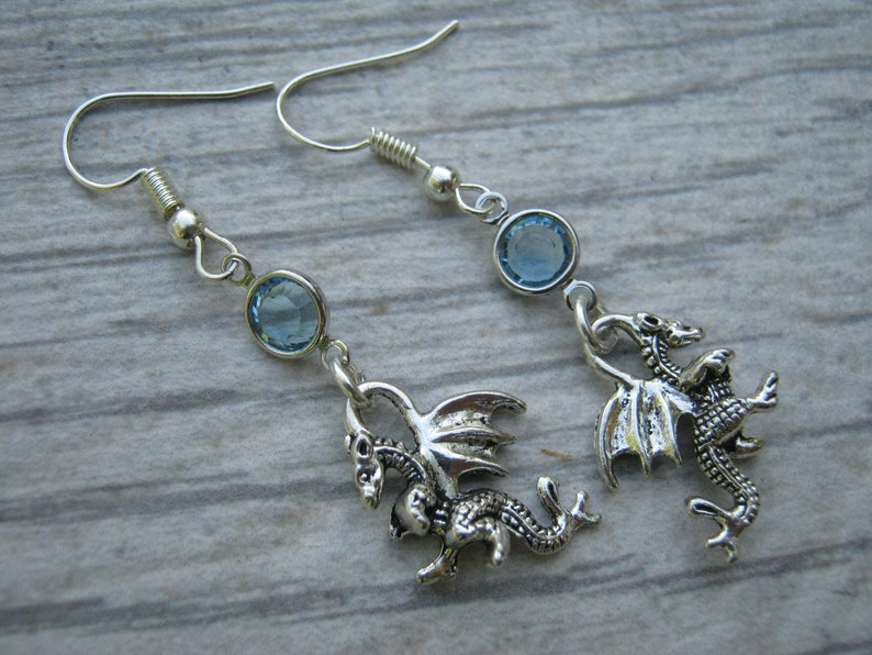 Magic Jewelry Magical Gift Personalized Fantasy Earrings Winged Serpent Earrings Cryptid Creature Dragon Birthstone Earrings