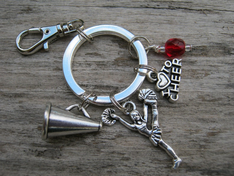 I Love Cheer Personalized Accessory Cheerleader Keychain Athletic Keychain Lanyard Cheerleader Gift Cheerleading Zipper Pull