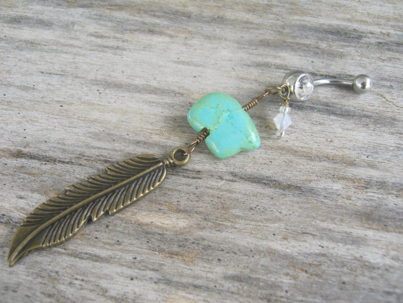 Zuni Bear Belly Button Ring Feather Belly Ring BRONZE Birthstone Navel Ring Native American Jewelry Turquoise Magnesite Belly Piercing